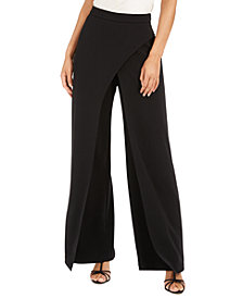 Adrianna Papell Crepe Draped-Front Wide-Leg Pants
