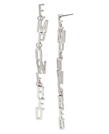 BCBGeneration Silver EMPOWERED Affirmation Link Linear Earrings