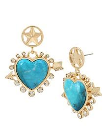 Star & Stone Heart Double Drop Earrings