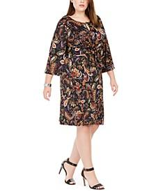 Plus Size Printed Tie-Waist Sheath Dress