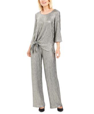 Metallic Crinkle Pants, Created For Macy's