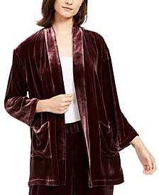Velvet Shawl-Collar Kimono, Regular & Petite