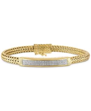 Diamond Id Bracelet (3/4 ct. t.w.) in 14k Gold Over Sterling Silver