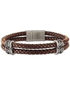 Diamond Braided Leather Bracelet (1/3 ct. t.w.) in Sterling Silver