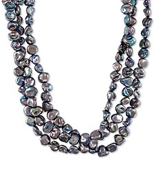 "Black Keshi Cultured Pearl (9mm) Triple Strand Necklace, 20"" + 2"" extender"