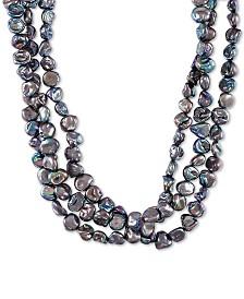 "Black Keshi Cultured Pearl (9mm) Triple Strand Necklace, 20"" + 2"" extender"