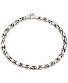 Men's Medium Wheat Link Chain Bracelet in Sterling Silver