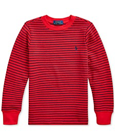 Toddler Boys Striped Waffle-Knit Cotton-Blend Tee, Created For Macy's