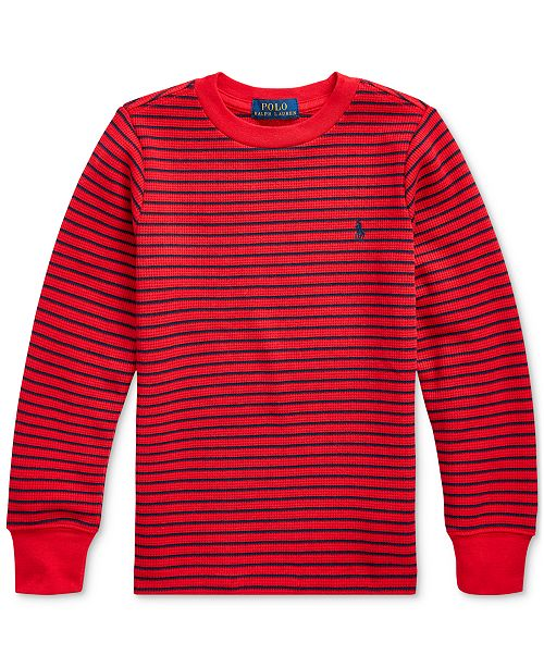 Polo Ralph Lauren Toddler Boys Striped Waffle-Knit Cotton-Blend Tee, Created For Macy's