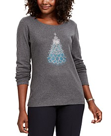 Petite Cotton Holiday-Print T-Shirt, Created For Macy's