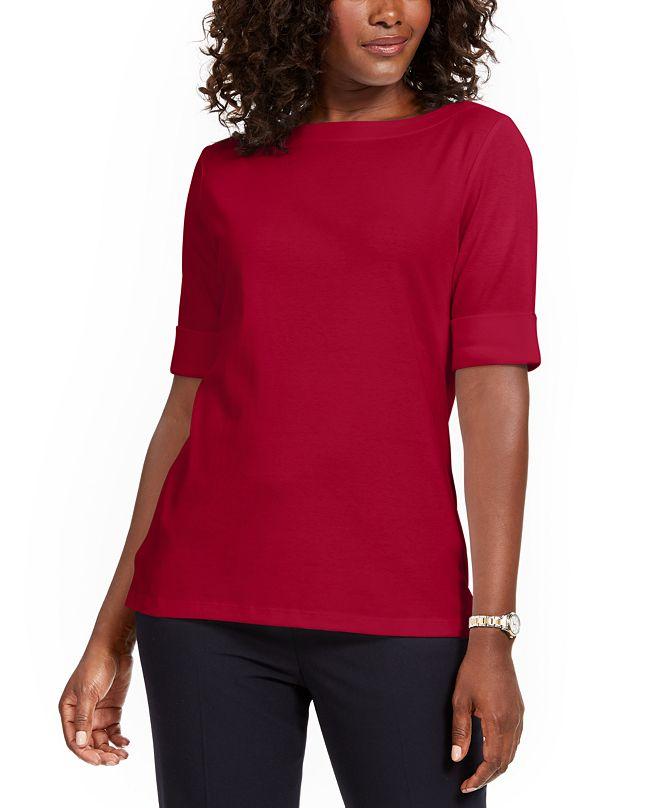 Karen Scott Boat-Neck Elbow-Sleeve Top, Created for Macy's