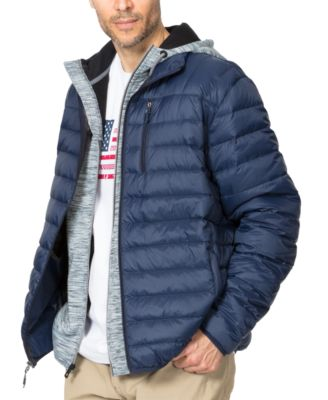 Large Mens Mixed Media Mid-Weight Down Puffer Jacket Navy//Black Hawke /& Co