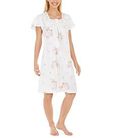 Women's Cotton Lace-Trim Floral-Print Nightgown