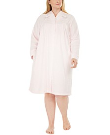 Plus Size Brushed Terry Short Snap Robe