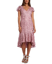 Petite Soutache High-Low Flounce Midi Dress