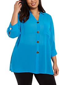 Plus Size Button-Front Tunic, Created For Macy's