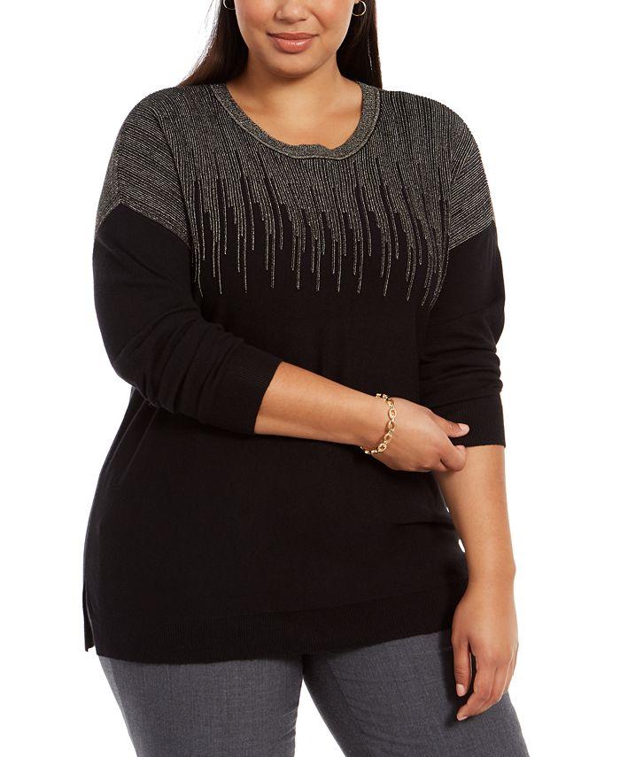 Alfani - Plus Size Sparkle Shoulder Sweater