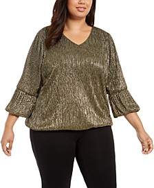 Plus Size Metallic Balloon-Cuff Top, Created for Macy's