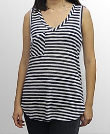 Womens Stripe V-Neck Pocket Tank Top