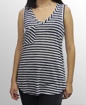 1804 Womens Stripe V-Neck Pocket Tank Top