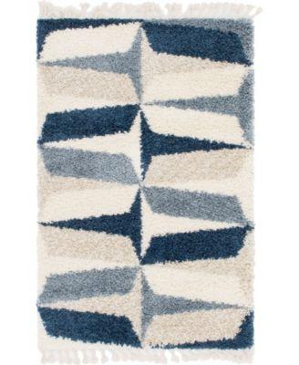 Lochcort Shag Loc6 Blue 4' x 6' Area Rug