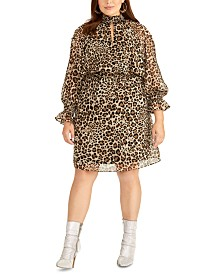 RACHEL Rachel Roy Trendy Plus Size Lucky Leopard Dress