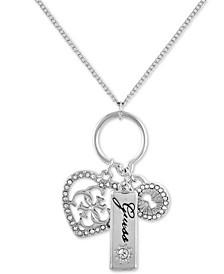 "Crystal Heart, Padlock & Logo Charm Pendant Necklace Gift Set, 18"" + 2"" extender"