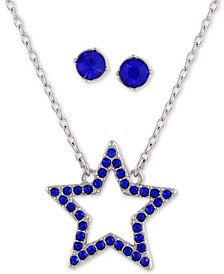 "Crystal Star Pendant Necklace & Stud Earring Gift Set, 16"" + 2"" extender"