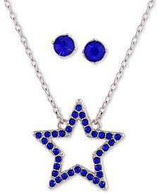 """GUESS Crystal Star Pendant Necklace & Stud Earrings Set, 16"""" + 2"""" extender"""