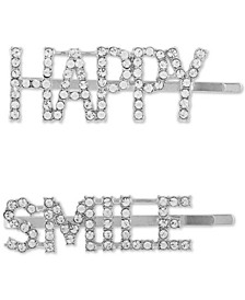 2-Pc. Silver-Tone Pavé Happy Smile Bobby Pin Set
