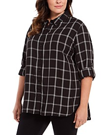 Plus Size Plaid Cotton Button-Down Shirt
