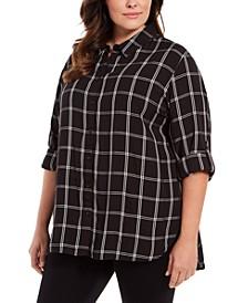 Plus Size Plaid Cotton Button-Down Shirt