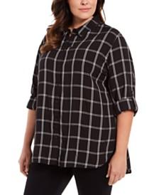 Calvin Klein Plus Size Plaid Cotton Button-Down Shirt