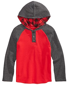 Little Boys Grand Colorblocked Thermal-Knit Hooded Henley, Created For Macy's