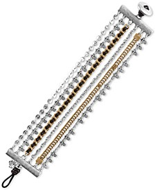 Two-Tone & Leather Multi-Row Flex Bracelet