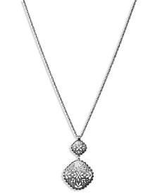 "Lucky Brand Silver-Tone Geometric Openwork Pendant Necklace, 30"" + 2"" extender"