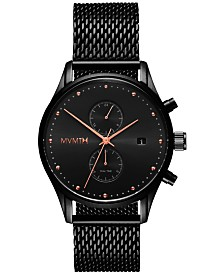 MVMT Men's Voyager Black Stainless Steel Mesh Bracelet Watch 42mm