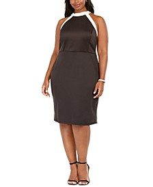 Plus Size High-Neck Colorblocked Dress