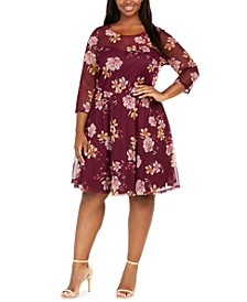 Plus Size Sweetheart Floral Swiss-Dot Dress