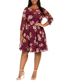 Love Squared Plus Size Sweetheart Floral Swiss-Dot Dress
