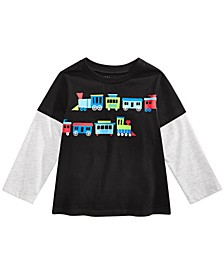 Toddler Boys Trains-Print Layered-Look Cotton T-Shirt, Created For Macy's