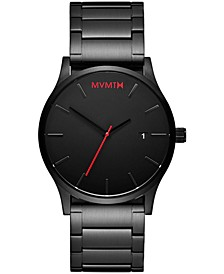 Men's Classic Black Stainless Steel Bracelet Watch 45mm