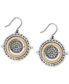 Two-Tone Hematite-Pavé Reversible Drop Earrings