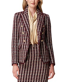Tweed Fringe-Trim Double-Breasted Blazer