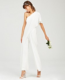Petite Draped One-Shoulder Jumpsuit