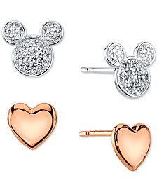 Mickey Mouse 2-Pc. Set Stud Earrings in Two-Tone
