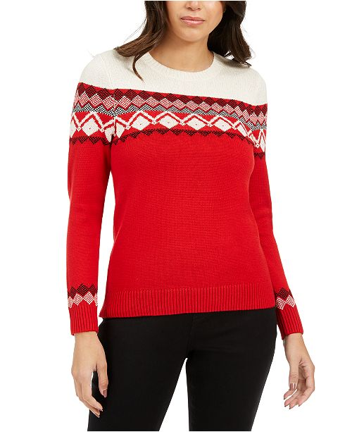 Charter Club Petite Colorblocked Fair Isle Sweater, Created For Macy's