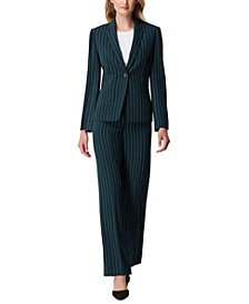 Pinstriped One-Button Jacket & Trouser Pants