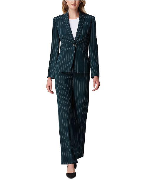 Tahari ASL Petite Pinstriped One-Button Jacket & Trouser Pants