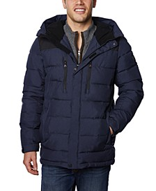 Men's Big & Tall Water-Resistant Quilted Colorblocked Hooded Ski Jacket